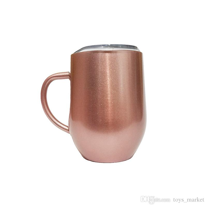 8208a9ef87a 12oz Stainless Steel Cup Egg Cups Coffee Mugs With Handle Lid Double Wall Stainless  Steel Tumbler Vacuum Insulated Mugs Cute Cheap Coffee Mugs Cute Coffee ...