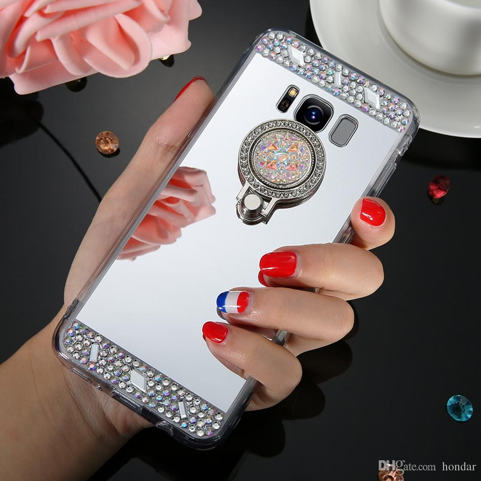 For Iphone 7 Plus Cases Luxury Mirror Case Cover With Crystal Finger Ring  Holder TPU Diamonds Phone Cases Iphone 7 Plus Cases Mirror Case Phone Cases  Online ... 668c5654094a