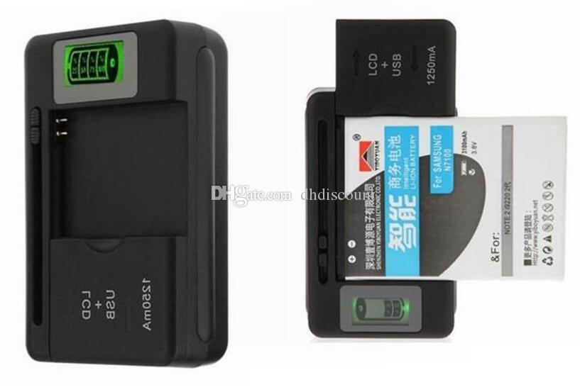 Universal Intelligent LCD Indicator battery Charger For samsung GALAXY S4 I9500 S3 I9300 NOTE 3 S5 with usb output charge US PLUG