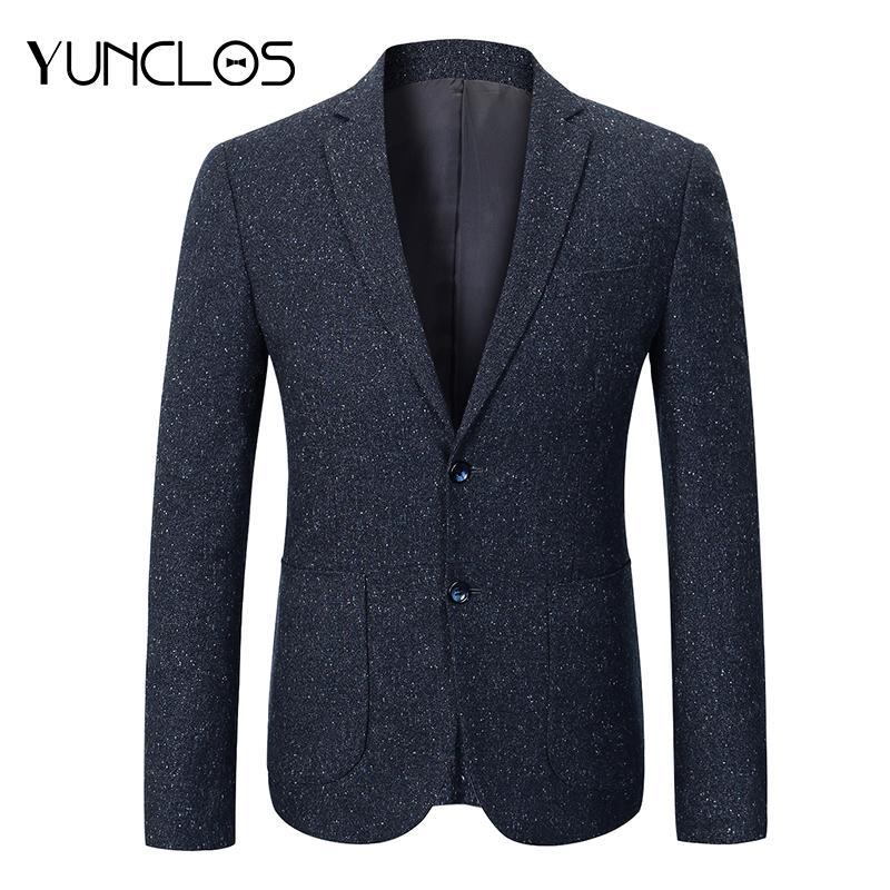 4089a27597bd8 Acquista YUNCLOS 2018 Uomini D affari Giacca Blu Navy Giacca Uomo Casual  Slim Fit Maschio Giacca Sportiva Blazer Stile Coreano Abbigliamento A   78.77 Dal ...
