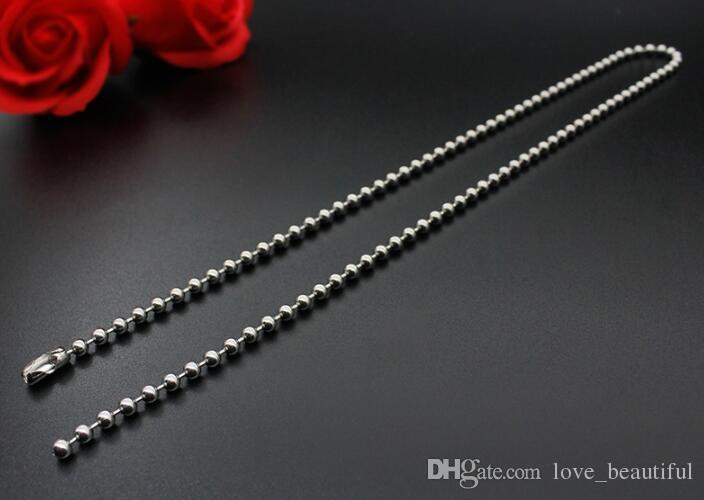 """2.4mm 50cn 55cm 60cm 70cm Stainless Steel Bead Ball Chains Necklaces Basic Round Bead Chains 4 size Choice 20""""22""""24""""28"""""""