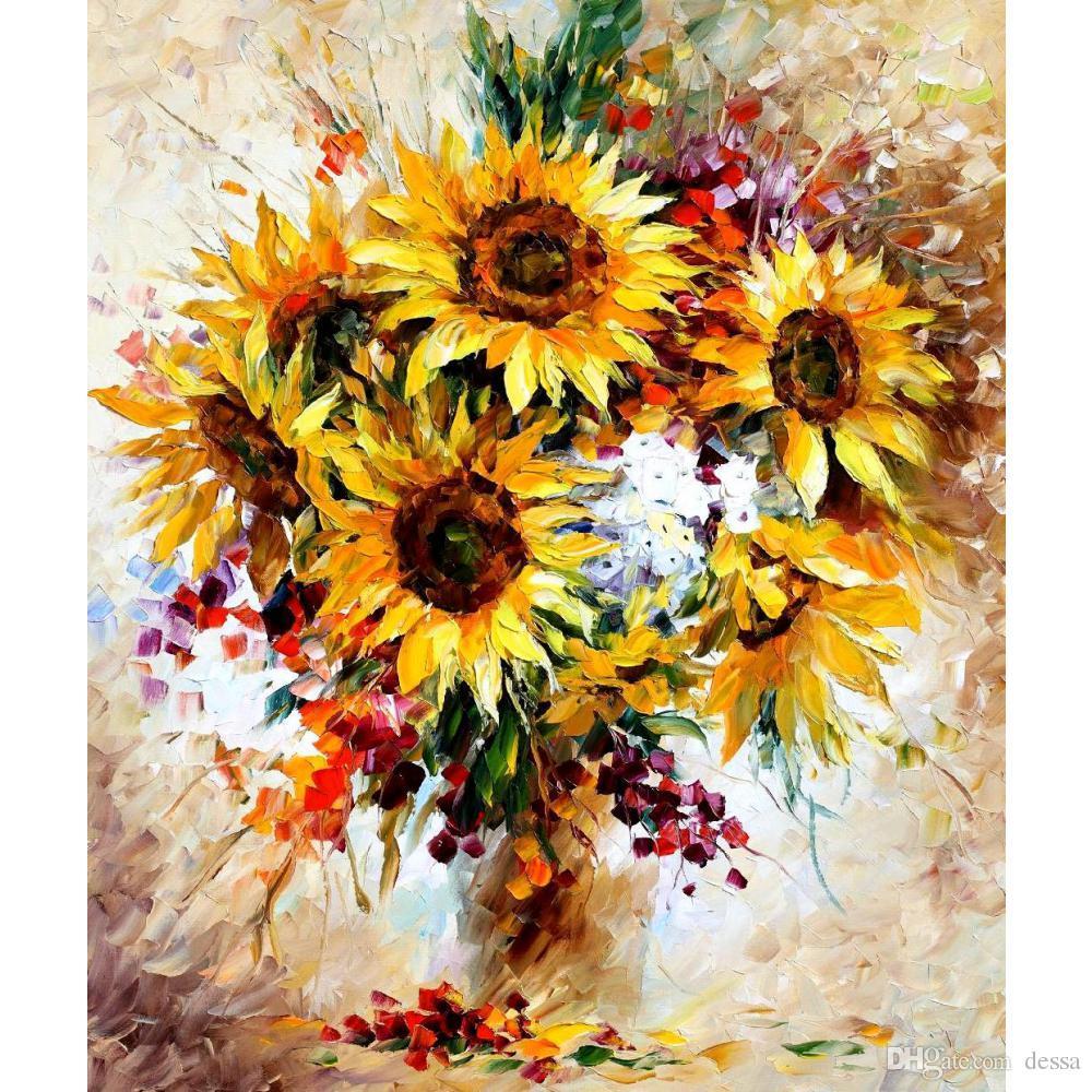2018 Handmade Still Life Oil Paintings By Leonid Afremov Sunflowers ...
