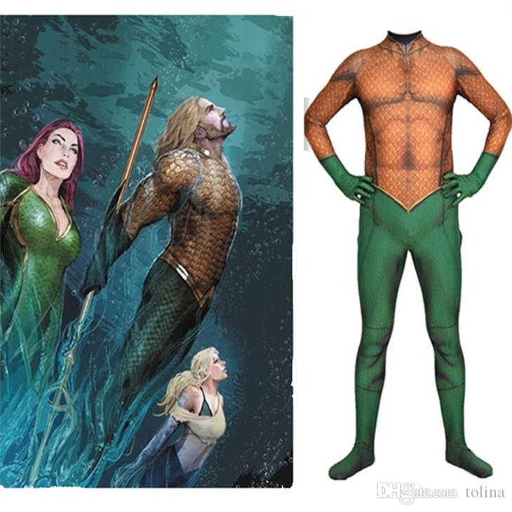 ba26cbf8bfb8 Anime Super hero Aquaman Costumes Halloween 3D Printed bodysuit Zentai Suit  Adult men s tights Arthur Curry Jumpsuits Cosplay