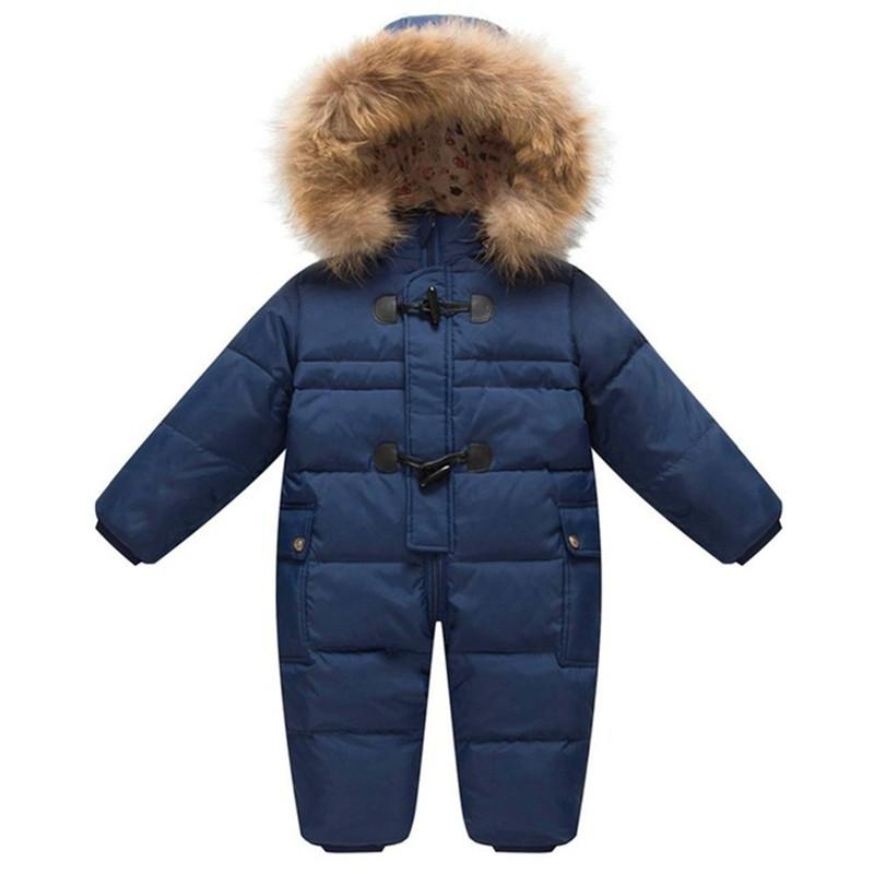 56a71279b 25 Degree Winter Children Overalls Baby Snowsuit Newborn Duck Down Jumpsuit  Infant Kids Thicken Rompers Boys Girls Fur Hooded Down Jacket Boys Down  Jacket ...