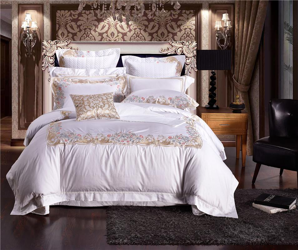 Beautiful Wholesale Egyptian Cotton Luxury Embroidery Duvet Cover Bed Sheet/Flat Sheet  Pillow Case/Palace Style Wedding Bedding Sets Cheap White Duvet Cover  Luxury ...