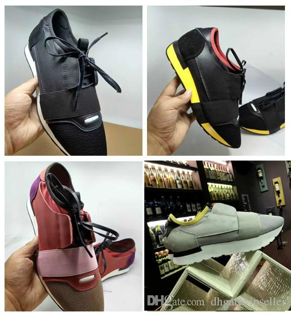 9b0e3050a8818 2018 Luxury Arena Sneaker Shoes Race Runner Red Mesh Balck Leather Kanye  West Race Runners Men S Walking Casual Trainers Party Dress Hiking Shoes  Prom Shoes ...