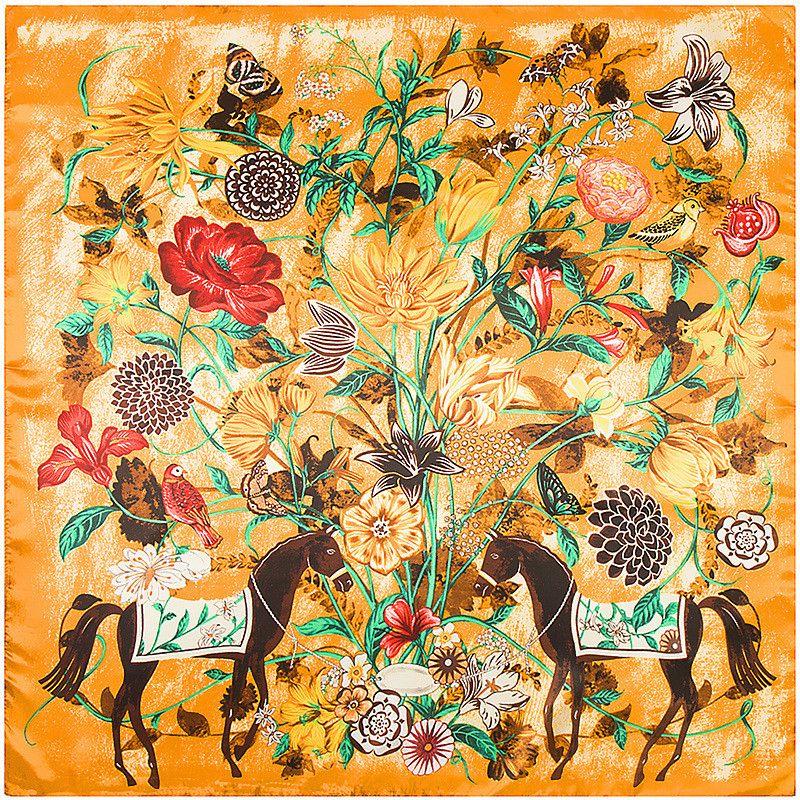 Acheter De Luxe Marque Soie Cou Animal Imprimé Écharpe Femmes Cheval Foulard  90   90 Cheveux Femme Echarpe Designer Châles Floral Grand Carré Écharpes  Dame ... 495339e1e4c