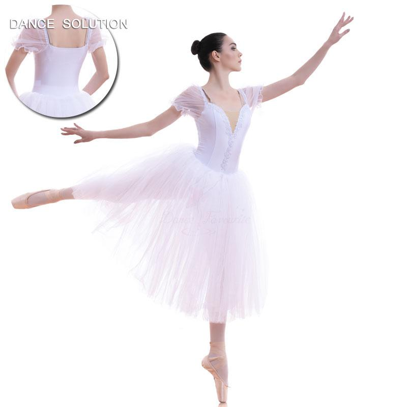 06680fc18 2019 Puff Sleeve Snow White Ballerina Costume Long Ballet Dance Tutu ...