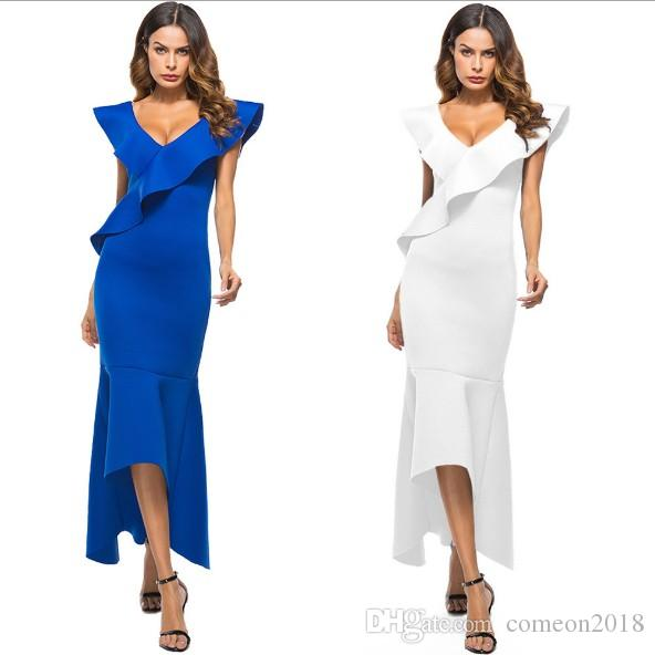 f502168f Women Clothes Sexy Bodycon Mini Dress Backless Solid Deep V Neck Batwing  Sleeve Hi Lo Party Dresses Sweet Ball Gown Ruffled Vestido Party Dresses  White ...