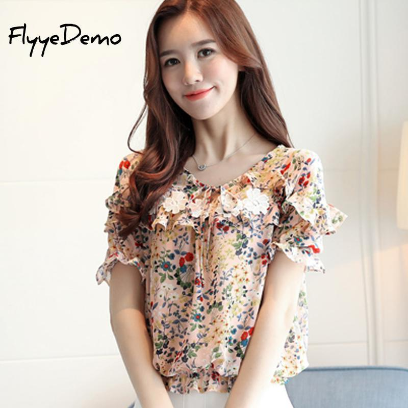 017c3007b067 2019 2018 Spring Summer The New Korean Casual Chiffon Blouse Pink Ruffles Floral  Print Women Shirt Short Sleeve Lace Women S Tops From Honhui