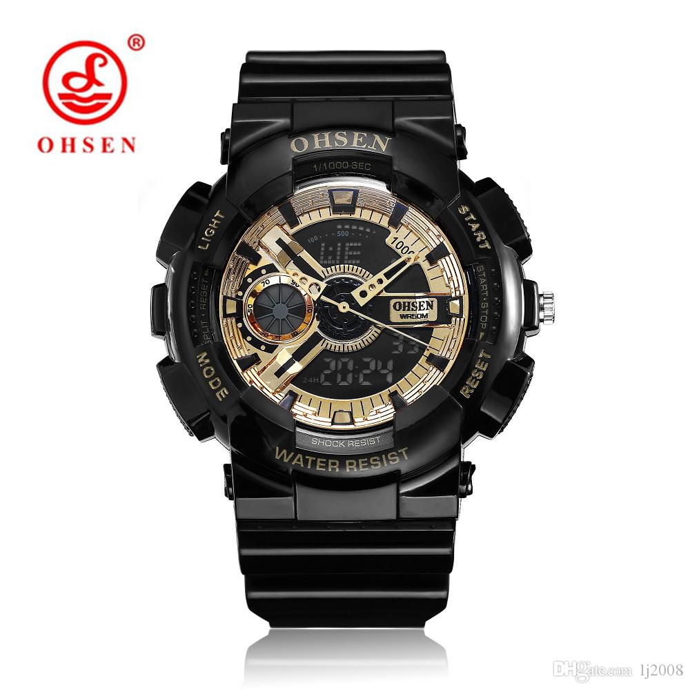 47426adec18 2018 NEW Fashion OHSEN Digital Quart Watch Men Alarm Sports Watch Rubber  Band LED Military Man Wristwatch Relogios Montre Homme Sport Watch Online  with ...
