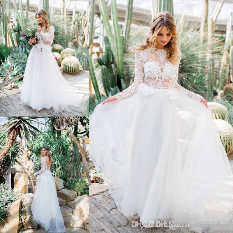 Простой чешский пляж свадебные платья с длинным рукавом спинки кружева аппликация свадебные платья свадебные развертки поезд свадебные платья vestido де novia