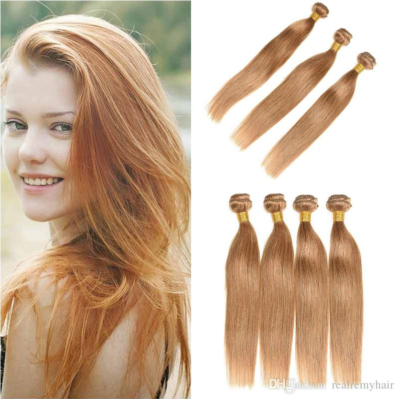 Soie Droite Weave Bundles # 27 Honey Blonde Pure Colored Malaysian Virgin Cheveux Humains 3/4 Pcs Trames Hair Extension