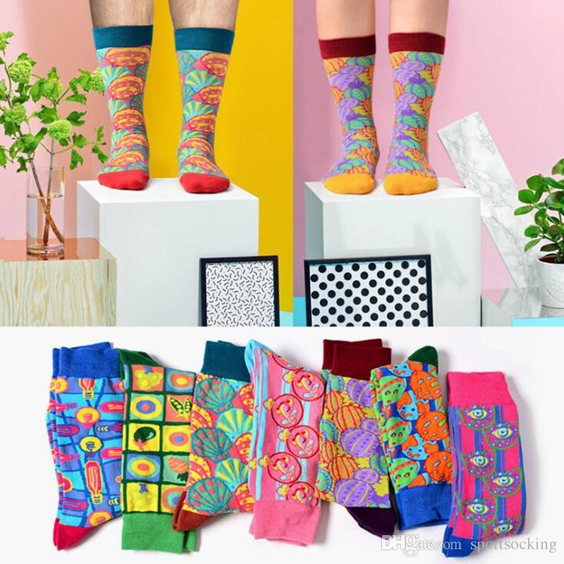 f6c691019 Novelty Painting Art Colorful Socks Women's Men's Street Sock Graffiti Pop  Psychedelic Illustration Long Socks Creative Socks