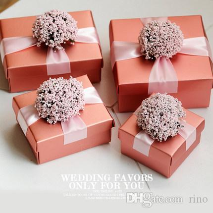 Wedding Favors Gifts Boxes With Ribbon Flower Candy Chocolate Boxes