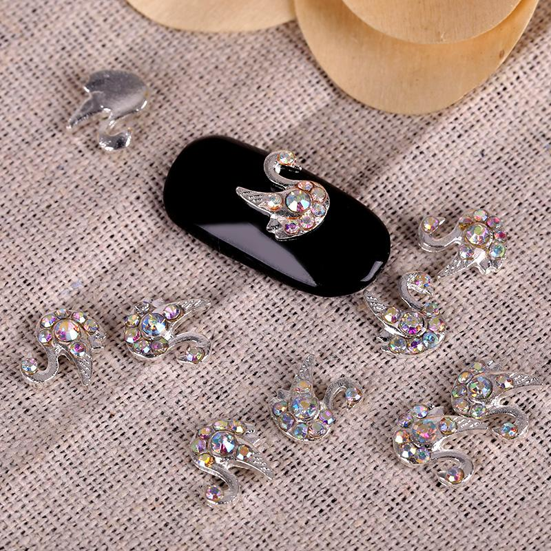 Glier Colorful Alloy Swan Nail Art With Rhinestones Rhinestones For