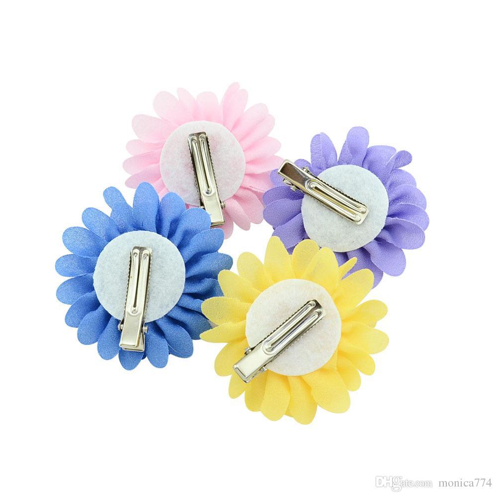 6cm Korean Girls Lotus Flower Hair Bow Baby Bowknot Handmade DIY Hairpin Kids Boutique Barrettes Hair Accessories Kids Headwear H60