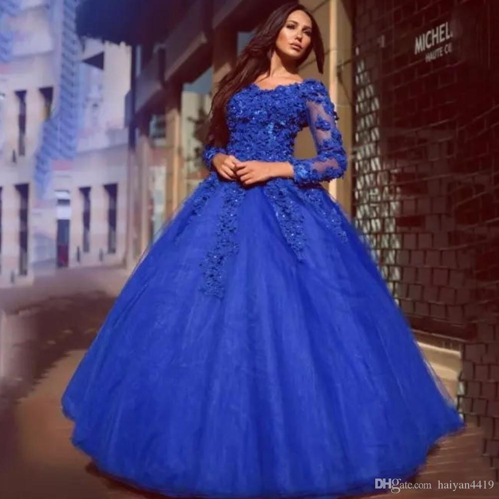 2018 New Ball Gown Quinceanera Dresses V Neck Long Sleeves Royal Blue Lace Flowers Beads Sweet 16 Party Formal Prom Dress Evening Gowns