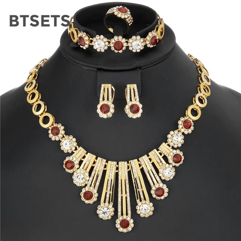 BTSETS Luxury Bridal Jewelry Sets For Women Wedding African Jewelry Set  Imitation Crystal Nigerian Beads Necklace Jewellery Set Gold Wedding Bands  Wholesale ... 6edf2a86ec5d