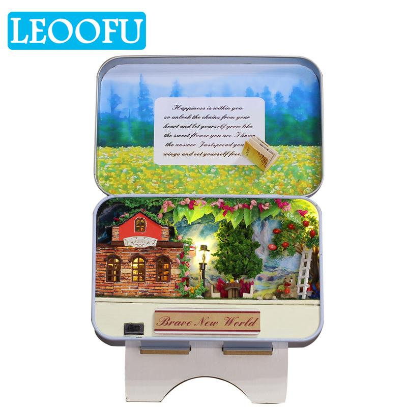 LEOOFU Beautiful Birthday Gift Cake Diary Diy Doll Metal Box Small Houses  Miniature Dollhouse Furniture Kit Toys For Children Barbie Doll House  Furniture ... c079fe5aa7fd