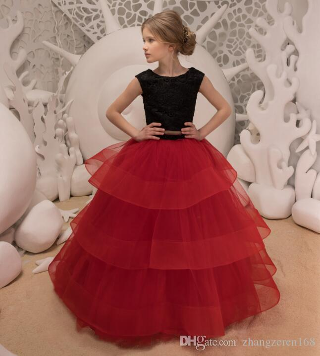 8aa7baba89 New Two Pieces Black Lace Red Puffy Flower Girls Dresses Tulle Long Party  Pageant Birthday Gown Custom 2-14 yards