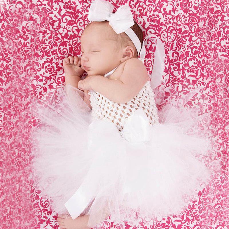 Großhandel Schöne Baby Weiß Tutu Kleid Mädchen Häkeln 1 Schicht Tüll