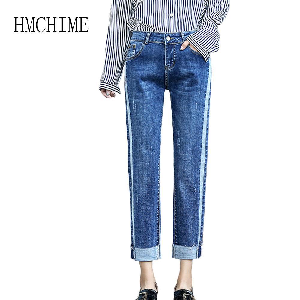 3cca4f6a Bordado blanqueado de la vendimia Pantalones vaqueros del dril de algodón  femenino Patchwork cremallera Jean Mujer Pantalones de cintura alta ...