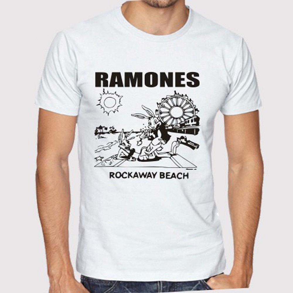 e8d2d821 The Ramones Rockaway Beach Punk Rock Band Men'S White T Shirt Size S To 3xl  Man Fashion Round Collar T Shirt Top Tee Band T Shirts T Shirt Designs From  ...