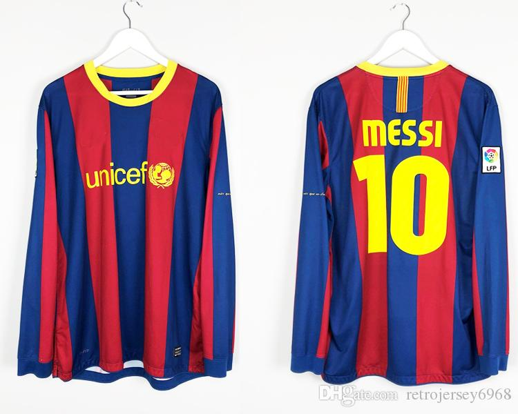 3cf255bc9d1 2019 2010 2011 Home Pique Messi Xavi Henry Puyol David Villa Retro Jersey  Old Shirts Champion League Long Sleeves Soccer Jersey From Retrojersey6968,  ...