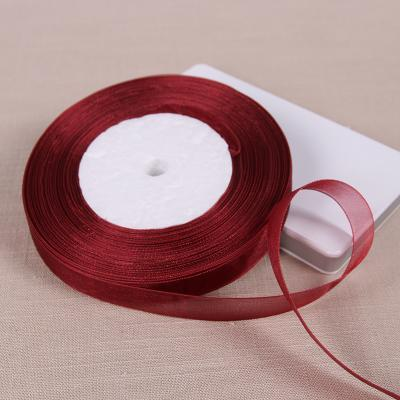 271a6d895e247 silk ribbon Wine Red Organza Silk Ribbon Home Wedding Party Christmas  Decoration Gift Wrapping Apparel Sewing Fabric Baby Bow Material DIY