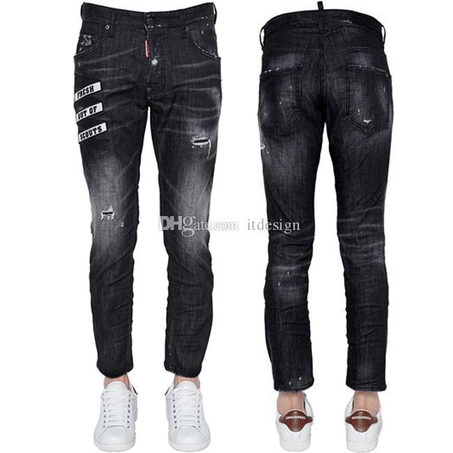 0a951d421f2 2019 Man Skater Black Ripped Bleach Jeans Letters Embroidery Applique Slim  Fit Leg Cowboy Pants Cool Buy From Itdesign, $39.6 | DHgate.Com