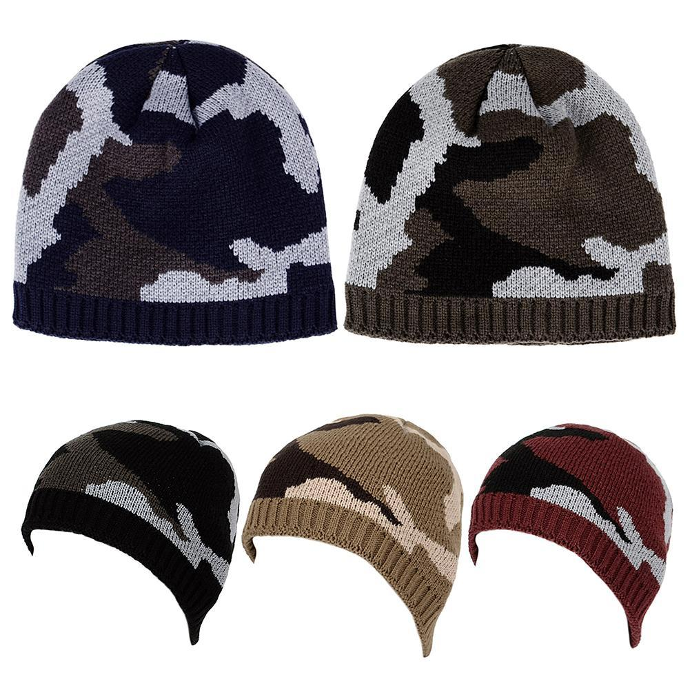 d73ae7bb9b4 2019 Thicken Fleece Lining Army Camouflage Hat For Men Hunting Winter Hat  Warm Knit Camo Ski Hiking Caps Winter Climbing Fishing From Suipao