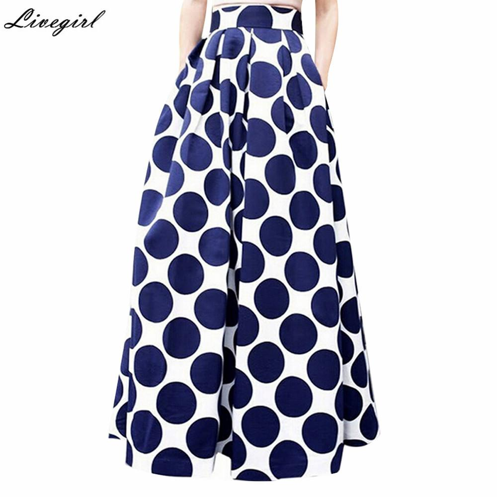 dcedde98b Moda Vintage cintura alta lunares impresos falda maxi otoño casual elegante  mujeres falda larga negro / azul / rojo falda plisada S916