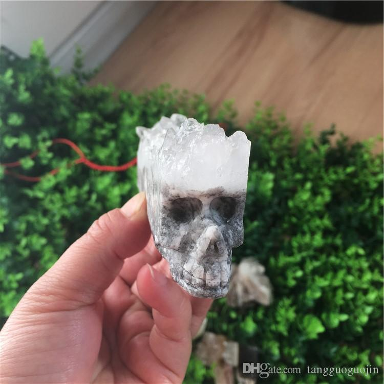 1 PC free shipping!Natural White Crystal Wand point healing Carved Crystal cluster Skull smoking pipe personality fashion wedding decoration