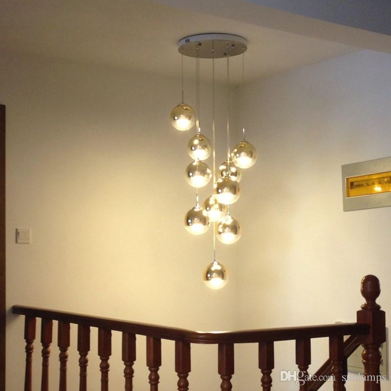 10 Led Lamps Staircase Gold Long Pendant Lamp Living Room Dining Modern Hanging Light Villa Glass Magic Ball Lights Ship Chandelier Cage
