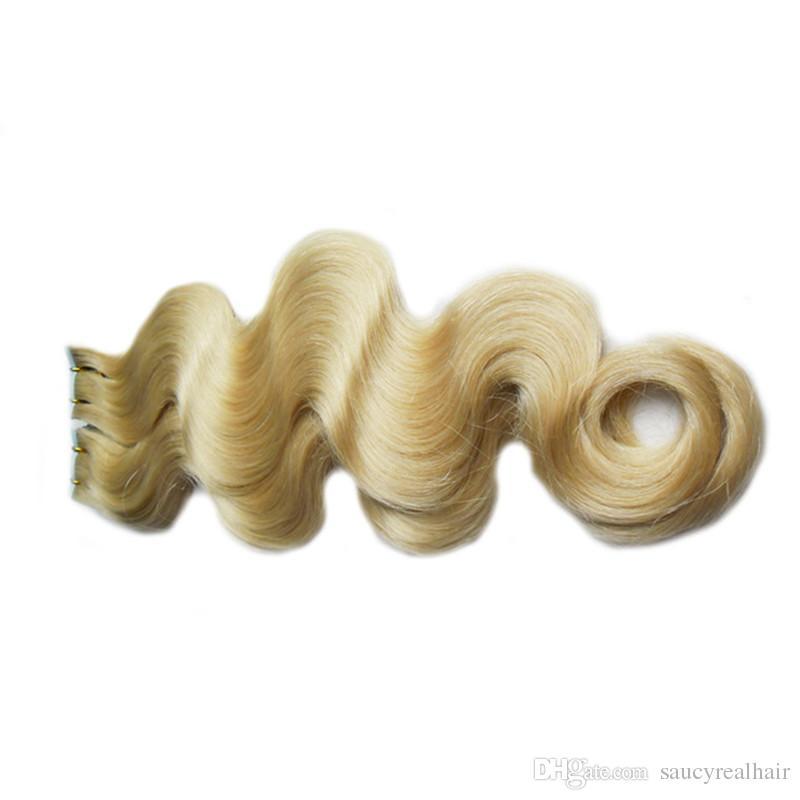 Trama della pelle dei capelli di remy PU nastro di trama nelle estensioni dei capelli umani # 613 Bleach bionda brasiliana Dell'onda del corpo dei capelli 14-26 pollice, DHL libero