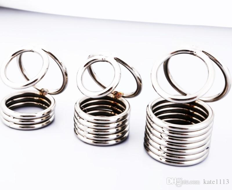 Weighted bola maca de aço inoxidável sexo brinquedo cobra galo gaiola sexo masculino brinquedo galo anel venda quente com 3 anéis