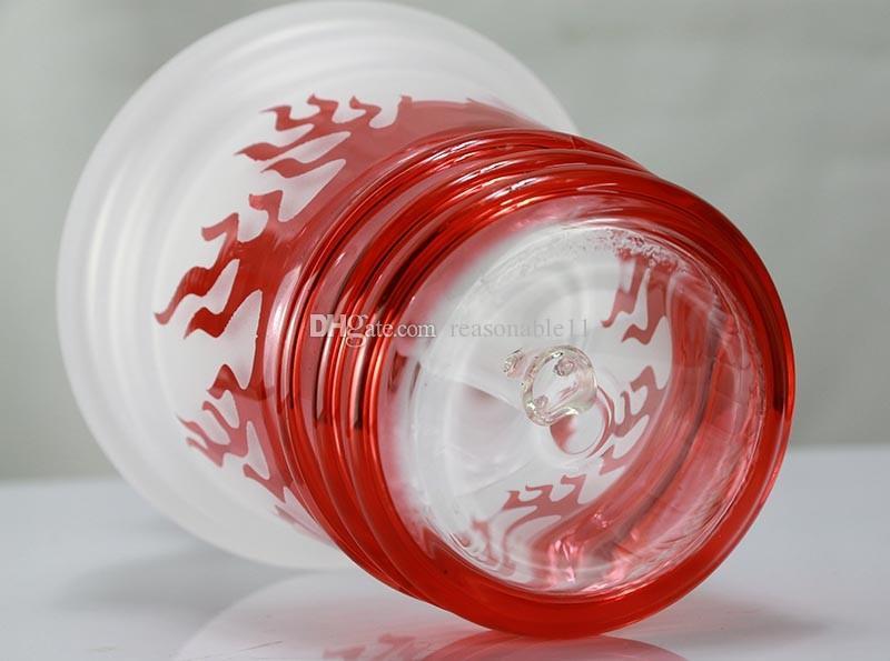Glass Dab Нефтяная вышка Водопроводная труба Бонги Курительная трубка 18,8 мм с красным огненным пламенем Цветной стеклянный купол для ногтей