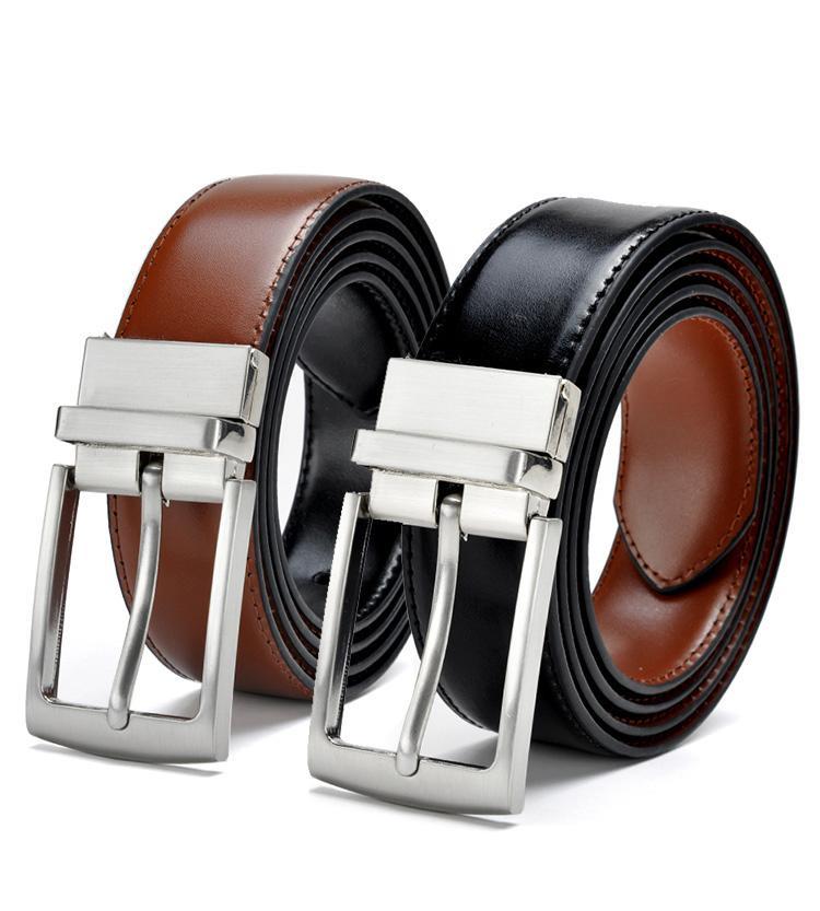 97b703efd6018 2018 Revolvable Buckle Belts For Men Formal Business Genuine Leather Belt  With Double Side Black Dark Brown Yellow Brown 3.5 CM Obi Belt Dip Belt  From ...