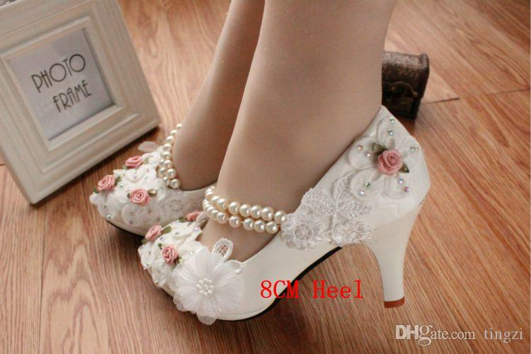 Cute Kitten Heels Bridal Shoes White Ankle Strap Rose Flower Pearls ... fa6b998d415f