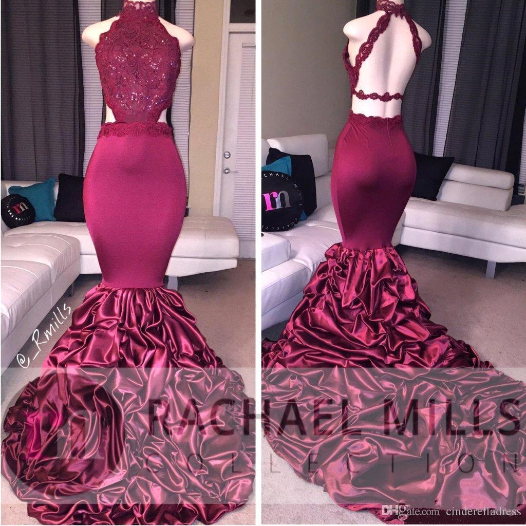 2018 Elegant Burgundy African Prom Dresses High Neck Mermaid Evening Gowns Black Girl Beaded Lace Cascading Ruffles Backless BA5125