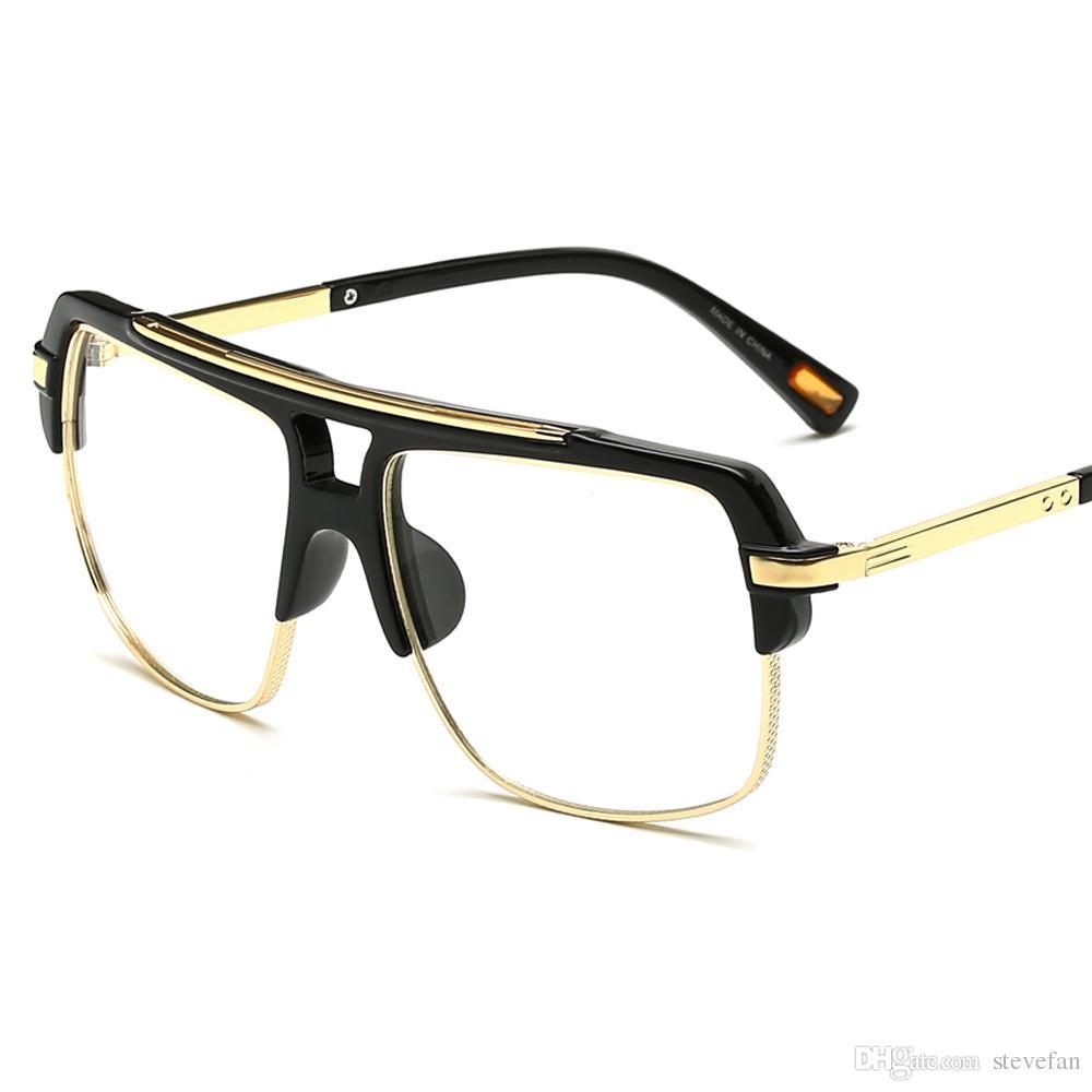 3392fc77fa12 2019 Half Frame Eyeglasses Frames Men Square Optical Gold Black Eye Glasses  Frames For Women Brand Designers 2019 Big From Stevefan