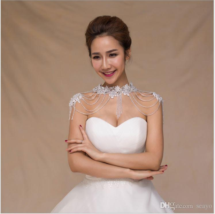 High-end luxury bride necklace jewelry, lace crystal pendant shoulder chain, one shoulder wedding dress shawl, factory direct sales.