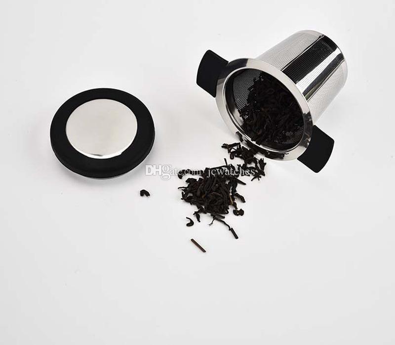 Aço inoxidável reutilizável Tea Infuser Basket malha fina coador de chá com 2 alças Filtros Lid café para chá da folha solta