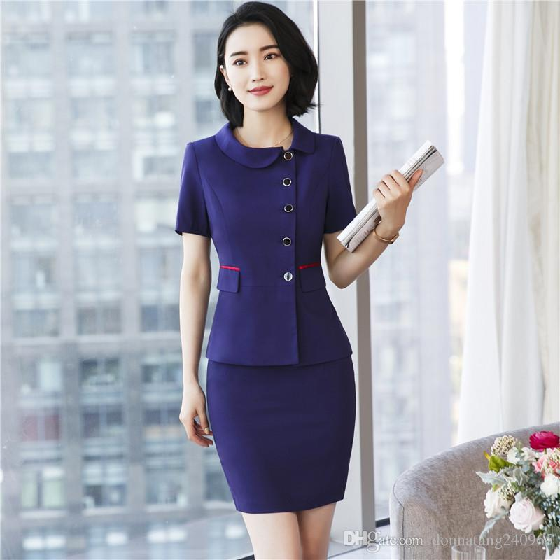 05086faaea6a 2019 New Spring Fashion Professional Women Skirt Suit Summer Elegant Formal  Blazer And Skirt Office Ladies Plus Size 3XL Uniforms From Donnatang240965
