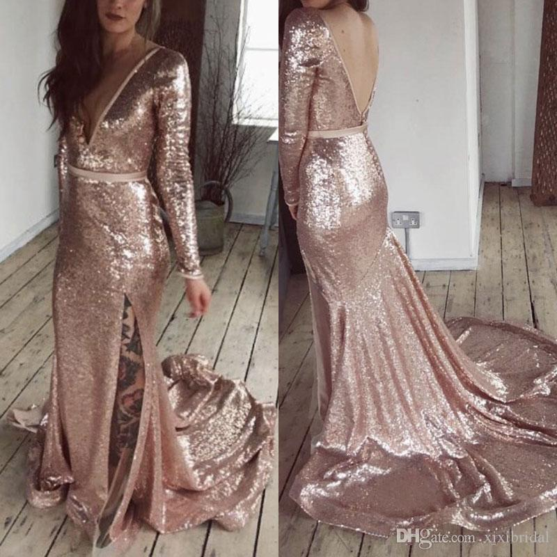 Deep V Neck Rose Gold Sequined Mermaid Prom Dresses 2018 Long Sleeves Side Split Sexy Backless Formal Evening Gowns Party Dress Cheap