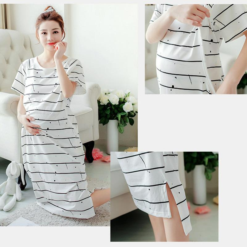 aab1b4354c4 2019 Summer Women Nightdress Maternity Nursing Striped Dress For Pregnant  Women Nightgown Mothers Breastfeeding Pregnancy Clothes From Shseller