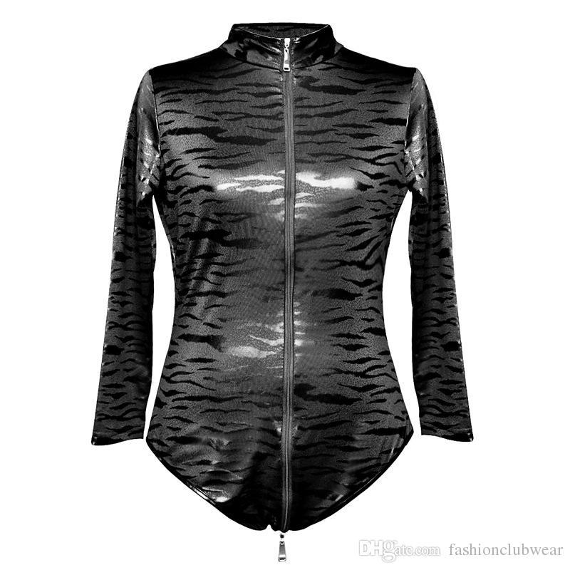 새로운 여성 얼룩말 스트라이프 Bodycon의 점프 슈트 긴 소매 지퍼 전면 고양이 양복 섹시 슬림 맞는 바디 슈트 테디 패션 나이트 클럽