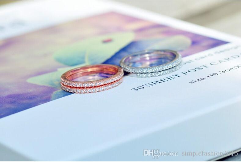 es de joyería de moda anillos de la banda de boda para las mujeres Match Diamonique Cz 925 anillo de la fiesta de compromiso femenino de plata