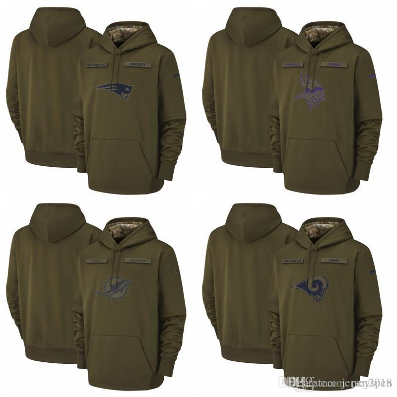 6c78fe6b1 2019 New Englan Patriots Minnesota Vikings Miami Dolphins Los Angeles Rams  Salute To Service Sideline Therma Performance Pullover Hoodie Olive From  Pen2018, ...